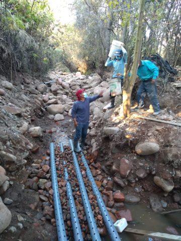 Installation des tuyaux perforés