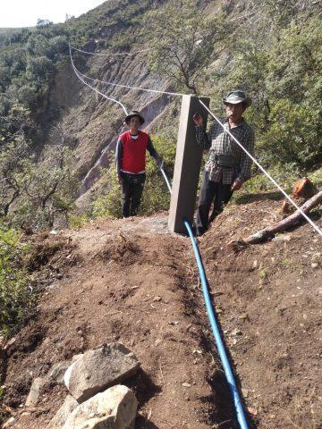 Installation du tuyau suspendu